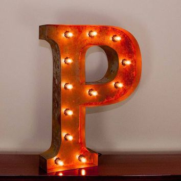 """24"""" Letter P Lighted Vintage Marquee Letters with Screw-on Sockets"""