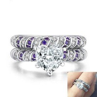 Women Elegant Heart Amethyst Wedding Engagement Ring Set