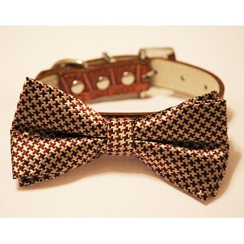 Gold Brown Bow tie with dog collar, Chic and Elegant, Wedding Dog Accessory