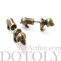 3D Tiny Fake Gauge Plug Puppy Dog Cute Animal Stud Earrings in Bronze