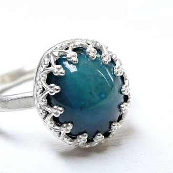 blue gem silica ring silver gem silica ring, chrysocolla promise ring silver, chrysocolla ring Inspiration mine, crown engagement ring