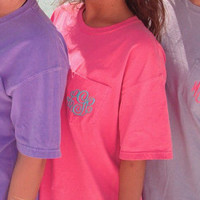 SALE Comfort Color Monogrammed Pocket Tee -- Short Sleeve