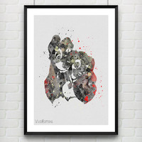 Lady and the Tramp Disney Watercolor Poster Art Print, Nursery Room Wall Art, Minimalist Home Decor, Not Framed, Buy 2 Get 1 Free! [No. 59]