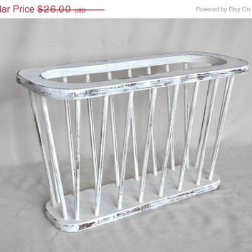 ON SALE Vintage White Shabby Chic Distressed Magazine Rack / Holder