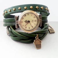 Green leather long strap watch wrap Love Womens leather watch Bracelet Watch Wrist Watch with hand made and muffin charm brads