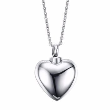 men women couple can put perfume bottle never fade stainless steel heart pendant necklace jewelry 1118