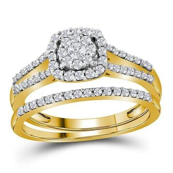 10kt Yellow Gold Womens Round Diamond Split-shank Bridal Wedding Engagement Ring Band Set 1/2 Cttw - FREE Shipping (US/CAN)