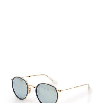 Kalete Ray-Ban round metal folding sunglasses mirror lens gold blue