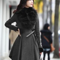 European Fashion Slim Ladies Coats with Fur Gray : Wholesaleclothing4u.com