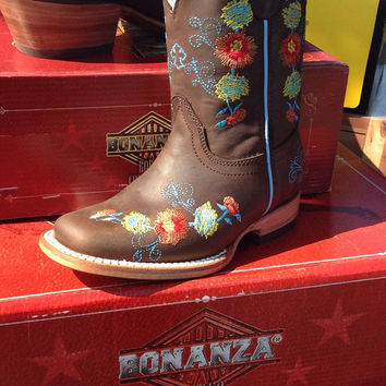 Toddler cowgirl leather boots