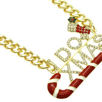 NECKLACE / I DO XMAS / LINK / METALCHAIN / CRYSTAL STONE PAVED / EPOXY / MESSAGE / CANDYCANE / 1 3/4 INCH DROP / 15 INCH LONG / NICKEL AND LEAD COMPLIANT