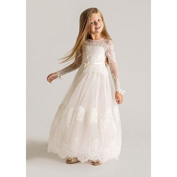 2017 Lovely Lace Flower Girls Dresses Long Sleeve A Line Lace Up High Neck First Communion Dresses For Girls Pageant Dress Cheap