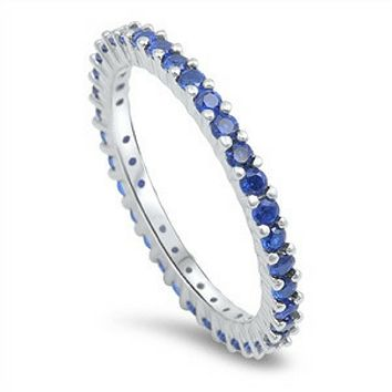 Blue Sapphire Stackable Sterling Silver Ring