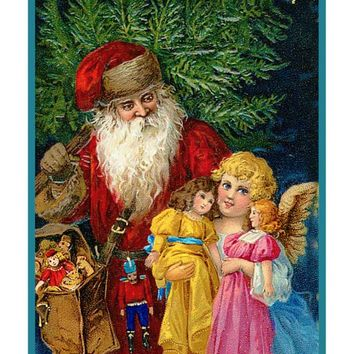 Victorian Father Christmas Santa with Angel and Dolls Counted Cross Stitch or Counted Needlepoint Pattern