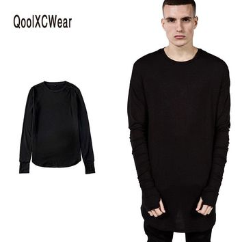 QoolXCWear NEW  Thumb Hole Cuffs Long Sleeve Tyga Swag Style Mens Side Split Hip Hop Top Tee T Shirt Crew Wool T-shirt Men