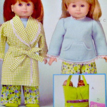 Doll Clothing Pattern Pajamas Top Pants Housecoat Accessories Tote Sleeping Bag McCalls M5019 Sewing Patterns for 18 inch Doll Uncut