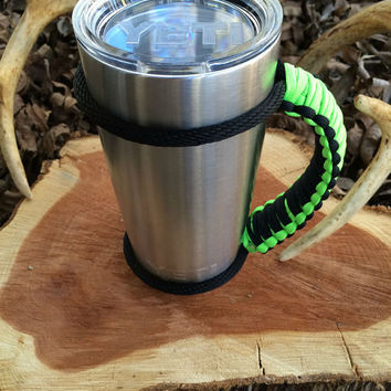 Paracord Yeti Rambler Handle Grip for 20 or 30 oz. Lime Green / Black with free matching keychain