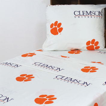 NCAA Clemson Tigers Bed Sheet Set White Collegiate Bedding: Full