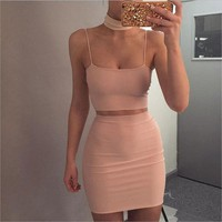 Sexy Straps Apricot Two Piece Halte..