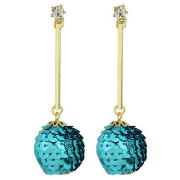 Bar Rhinestone Sequins Ball Earrings