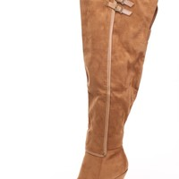 Chestnut Thigh High Strappy Heel Boots Faux Suede