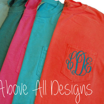 MONOGRAMMED Pocket Tee -Personalized Bridesmaid Gift - Sorority Gift