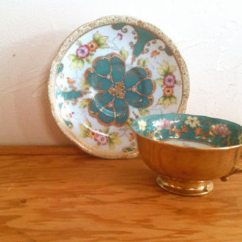 SAJI Made in Japan Fancy China Gold and Robbin EggShell Blue Floral Gold Trimming Hand Painted Teacup and Saucer