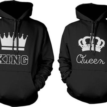 Cute Couple Hoodies - King and Queen Crown Matching Couple Sweatshirts