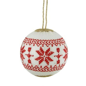 "4"" Alpine Chic White with Red Snowflake Nordic Design Christmas Ball Ornament"
