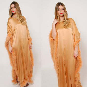 Vintage 60s FEATHER Dress Amber MARABOU Trim Caftan Free Size GLAM Retro Maxi Dress Vintage Lounge Wear