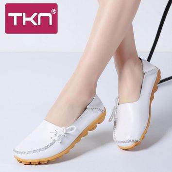 TKN 2018 Spring Women Flats Lace Up Slip-On Leather Shoes Women Loafers Female Casual Shoes Ballerina Flats chaussures femme 912