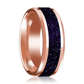 Purple Gold Stone Inlaid 14k Rose Gold Polished Wedding Band for Men with Beveled Edges - 8MM