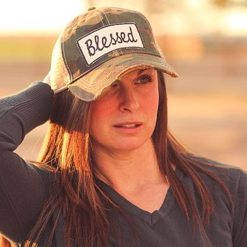 Blessed Trucker Hat  in Distressed Camo