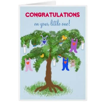 New Baby Congratulations - Tree with Baby Utesils Card