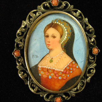 European Victorian Reverse Pained Glass Cameo Portrait  Coral Silver Antique Brooch Pendant