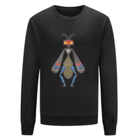FENDI Tide brand autumn and winter new round neck pullover men's long-sleeved insects pullover sweater black