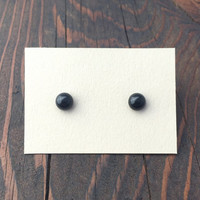 Small Gemstone Stud Earrings with Hypoallergenic Posts / Black Onyx Stone