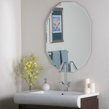Oval 12-sided Frameless Bathroom Vanity Wall Mirror Hangs Vertical or Horizontal