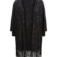 Black Velvet Burn Out Fringe Hem Kimono | New Look