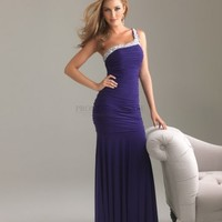Column One Shoulder Long Purple Beading Prom Dress