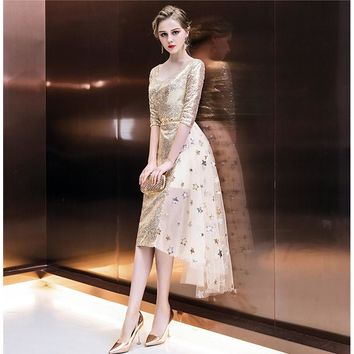 Girls V-Neck Bling Half Sleeve Sequined A-Line Prom Gowns Party Dresses Formal Dresses