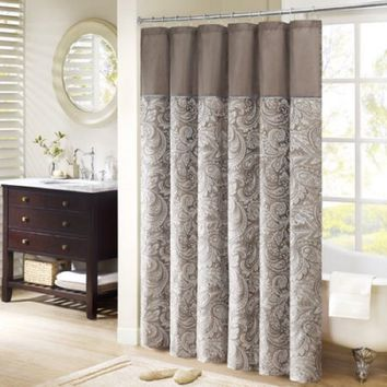 "Home Essence Whitman Polyester Jacquard Shower Curtain, 54""x78"", Blue/Brown"