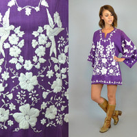 vtg 70s EMBROIDERED  dove + floral ethnic boho hippie MEXICAN TUNIC, medium-extra large