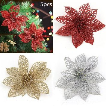 Hot 5pcs 15CM Glitter Artificial Flowers Christmas Tree Ornaments Decorations Christmas Decorations for Home Christmas Gifts.9z