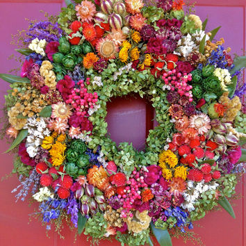 Colorful Dried Flower Wreath, Spring Wreath,Dried Floral Wreath,Floral arrangement, Wreath, Mother's Day Gift