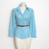 1970s Try 1 Shirt / Light Blue & White Space Dyed Button-down w/ Butterfly Collar / Women's Vintage 70s Top