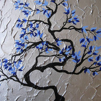 present asian leaves texture textured textures vertical tree tree abstract art black gray grey silver blue original painting wall