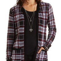 Plaid Open Cardigan Sweater by Charlotte Russe - Black Combo