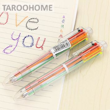 VONC1Y 1pc Transparent 6 - color Ballpoint Pen Creative Multi - color Ball Pen Multi - functional Office Stationery Supplies