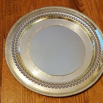 Silver Plate Tray Mirror Upcycled Vintage Silverplate